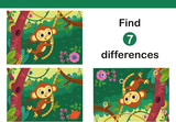 Find 7 differences education game for children, featuring a cute monkey. Vector illustration.