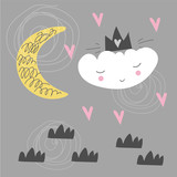 Cute scandinavian poster with cloud, moon and hearts. Kids drawing. Cartoon style. - 207677741
