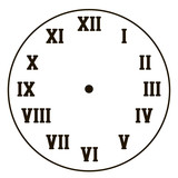 simple clock with black roman numerals isolated on white background vector circle without arrows background drawing - 207678347