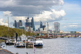 Thames River and London city skyscrapers