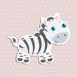 Cute zebra sticker vector illustration. Flat design.