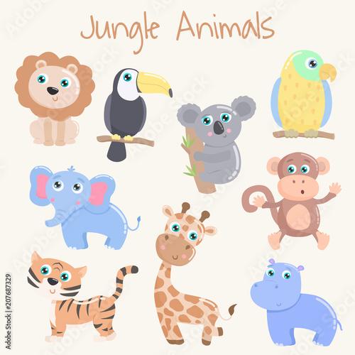 Poster Cute jungle animals. Flat design.