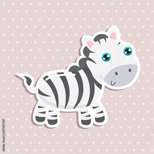 Cute zebra sticker vector illustration. Flat design.