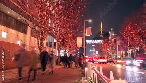Fotobehang Tokio Winter illumination at Roppongi Hills and Tokyo Tower 六本木けやき坂イルミネーション