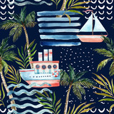 Watercolor sailboat, ship, palm tree, leaves, grunge textures, doodles, brush strokes. - 207692942
