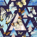 Watercolor triangles with butterfly and marble grunge textures - 207692969