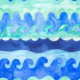 Watercolor waves seamless pattern. - 207692988