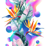 Abstract soft gradient blur, colorful fluid and geometric shapes, watercolor palm drawing. - 207692995