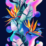Abstract soft gradient blur, colorful fluid and geometric shapes, watercolor palm drawing. - 207692996
