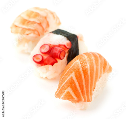 Aluminium Sushi bar susi with seafood isolated on white background
