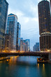 The Chicago River in the evening during the Blue Hour with plenty of city lights.