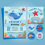 Underwater Sea, Nautical Theme birthday party Invitation