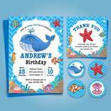 Underwater Sea, Nautical Theme birthday party Invitation