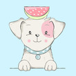 cute baby dog with watermelon cartoon  for t-shirt, print, product, flyer ,patch, fabric, textile,tile,card, greeting  fashion,baby, kid, shower, powder,soap, hand drawn style. vector illustration