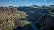 The Palouse River, snaking through canyons downstream from the Palouse Falls in mid afternoon