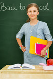 Beatiful smiling pupil in classroom at the elementary school, back to school. - 207705349
