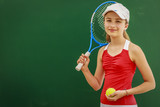 Tennis young girl player on court. - 207705391