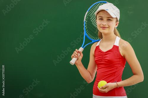 Fotobehang Tennis Tennis young girl player on court.