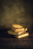 old books vintage on wood floor and paper aged background or texture - 207705505