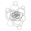 Tattoo with rose and circles on white background