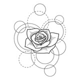 Tattoo with rose and circles on white background - 207708519