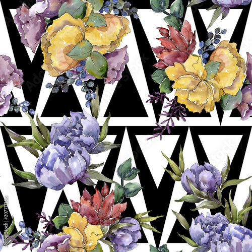 Colorful bouquet. Floral botanical flower. Seamless background pattern. Fabric wallpaper print texture. Aquarelle wildflower for background, texture, wrapper pattern, frame or border. - 207711386