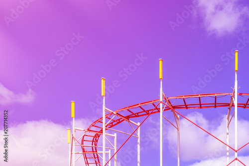 Fotobehang Amusementspark Part of the attraction against the background of the summer blue sky. Summer holidays, rest