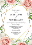 Fototapety Wedding floral invite, invtation card design. Watercolor blush pink rose, white garden peony flowers, green leaves, greenery fern & golden geometrical transparent frame. Vector, elegant, classy layout