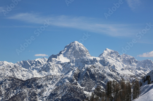 high mountains in winter from Lussari Mount in the Italian Region called Friuli
