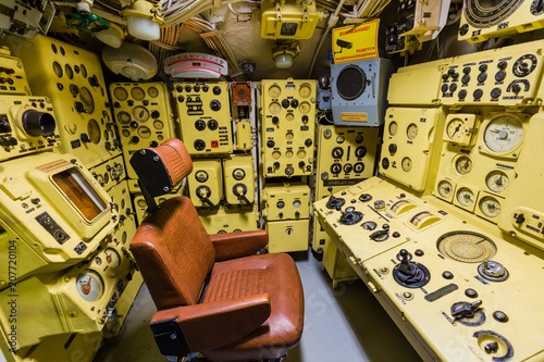 Fotobehang Schip Moscow, Russia - May 04, 2018: Interior of Russian Soviet submarine in museum of naval forces