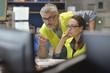 Leinwanddruck Bild - Technicians working in industrial plant control room