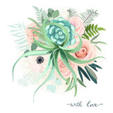 Greenery frame with rose, succulent , eucalyptus, fern and cactus. Perfect for wedding, frame, pattern,greeting card, invitations, lettering. Watercolor style. Vector illustration - 207721982