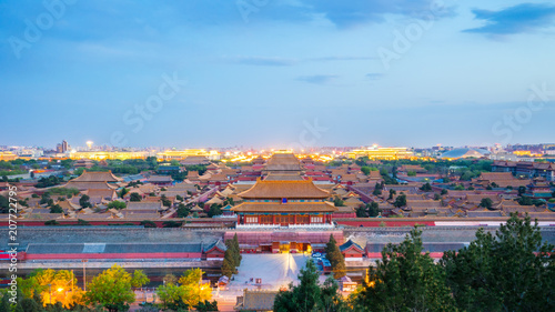 Plexiglas Peking Beijing city skyline with Forbidden city in Beijing capital, China