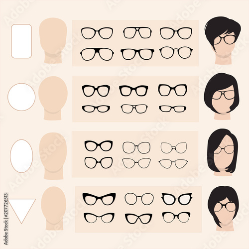 A set of vector glasses for different faces - 207726513