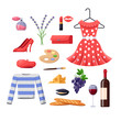 Travel to France design elements. Paris fashion and food illustration. Vector cartoon isolated icons set