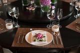 Beautiful luxury dinner table setup using pink lotus of Thailand - 207731304