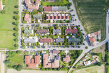 Aerial view of residential houses neighborhood in suburban area. Looking straight down with a bird's eye view. - 207731794