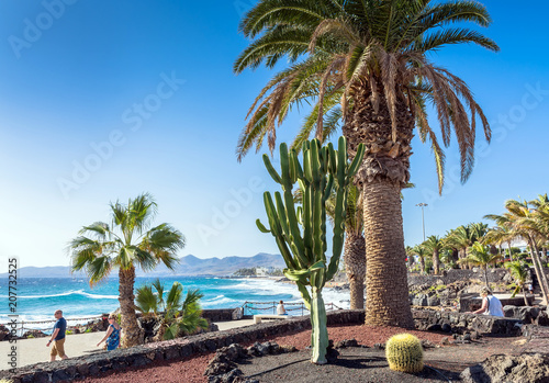 boardwalk and coastline in Puerto del Carmen, Lanzarote, Spain