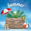 Sky Clouds Sun Wooden Board Flip-Flops Sunshade Palm Summer