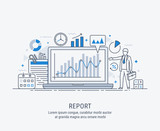A manager reporting marketing the show graphs, on laptop display. Reporting concept. Vector modern thin line illustration. - 207737971