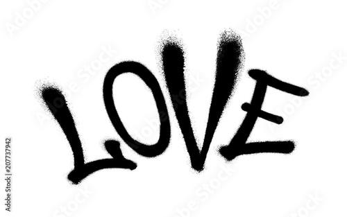 Fotobehang Graffiti Sprayed love font graffiti with overspray in black over white. Vector illustration.