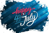 USA Independence Day celebrate banner with brush stroke background and hand lettering text Happy 4th of July. United States national holiday vector illustration.