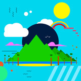 Vector modern abstract background. The illustration shows nature: trees, mountains, sun, water, rainbow - 207739950