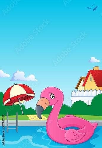 Canvas Voor kinderen Flamingo float theme image 2