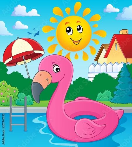 Canvas Voor kinderen Flamingo float theme image 3