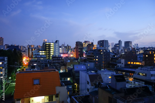 Fotobehang Tokio Tokyo cityscape at night, Japan