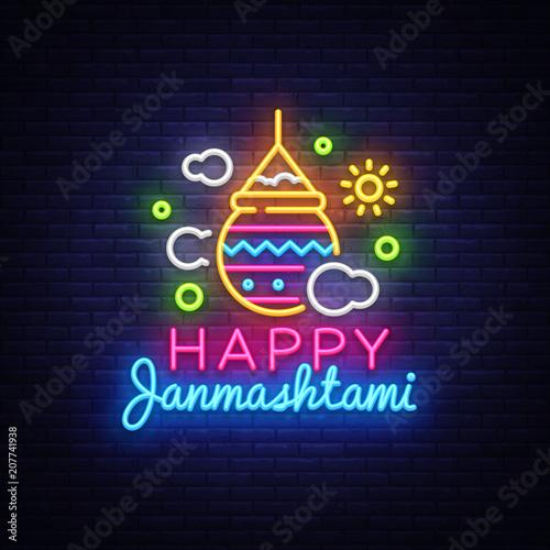 happy janmashtami greeting card neon vector design template neon