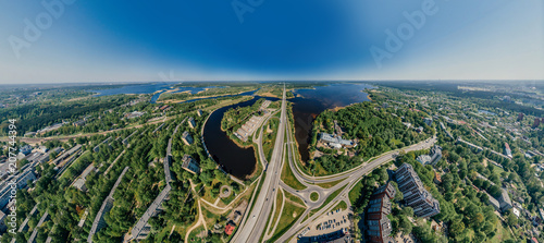 Summer Lake and roads in Riga city and Latvia nature 360 VR Drone picture for Virtual reality, Panorama