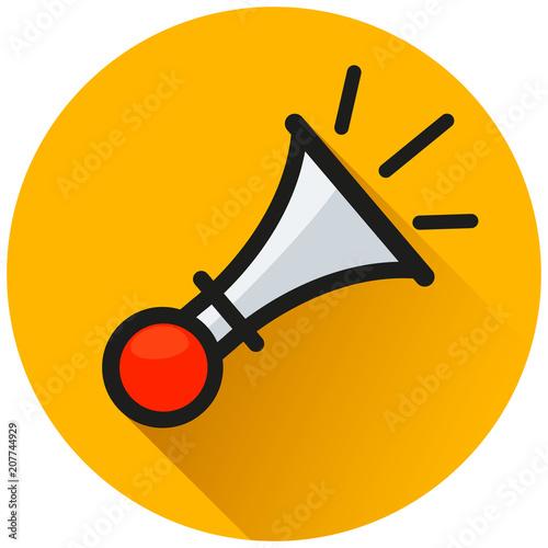 horn circle orange flat icon