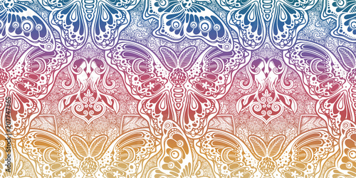 Seamless pattern of butterflies or moths. Repetition background of fantasy style ornate insects - 207747365